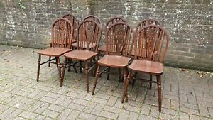 Set of 8 Vintage Painted Wheelback Kitchen Chairs 1980's Can Split into 4,6 or12