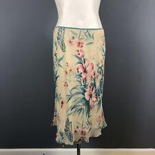 Odille Anthropologie Vintage Silk Skirt Womens Small Floral Parrot Bird Print