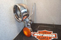 Mount Harley Bracket Driving Lamp Chrome Housing Turn Signal For Touring FL  M1