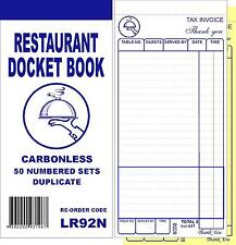100 Quality Restaurant Docket Book (without word DRINKS) - Duplicate Carbonless