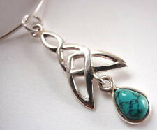 Turquoise Celtic 925 Sterling Silver Necklace India New