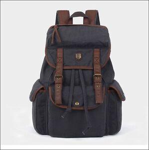 Unisex Women Men's Vintage Canvas Leather Satchel Laptop Rucksack Backpack Bags