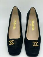 Chanel suede pumps heel Black Woman Authentic Used size 35.5