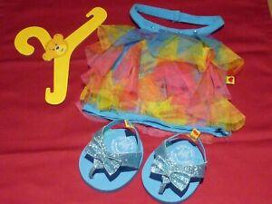 Build a Bear rainbow layer halter neck dress & blue glitter flip flops + hanger