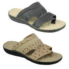 Mens Faux Print Leather Sandals Toe Grip Summer Slip on Mules Size 6 7 8 9 10 11