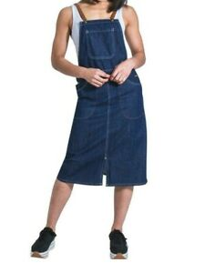 Midi Denim Dungaree Dress - fastens with braces Pinafore Bib Front Split