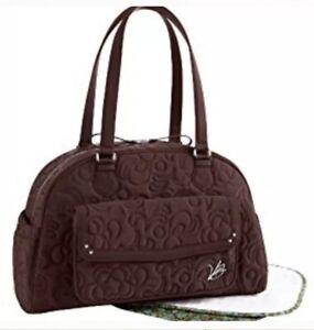 Vera Bradley Bowler Baby Diaper Bag Espresso Microfiber NEW $125 W Changing Mat