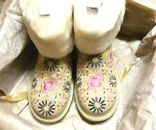 NIB UGG Australia 1002164 Embroidery Sand Suede Sheepskin Boots Size 6