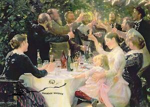 Kunstpostkarte - Peder Severin Kroyer:  Feier der Künstler in Skagen / 1888