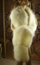 Mohair Hand Knitted Unisex Fluffy White Cream Long Lush Scarf