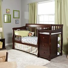 4 in 1 Side Convertible Crib Changer Nursery Furniture Baby Bed Espresso 3 Shelf