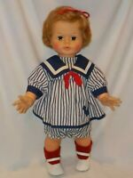 """VINTAGE CHATTY CATHY 18-20/"""" HANDMADE  2 PC TINY PURPLE AND WHITE CHECKS  OUTFIT"""