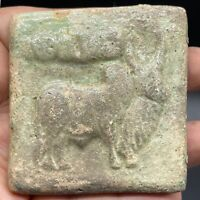 Near Eastern Indus Valley Bull Old Seal Terra-cotta Stamp with Symbols