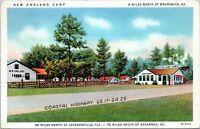 Brunswick Georgia New England Camp Roadside Motel HWY 17 Linen 1938 Postcard