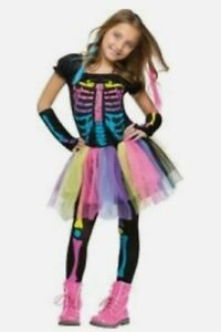 fun world funky punky bones costume, medium 8-10, multicolor