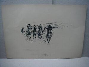 Otto Dill - ältere Lithographie - Pferderennen - Derby - Wettrennen - Pferde