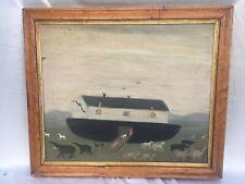 Vintage Folk Art Naïve Primitive Painting Noah's Ark Birds Eye Maple Antq Frame