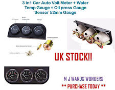3 in1 Car Auto Volt Meter + Water Temp Gauge + Oil press Gauge Sensor 52mm Gauge