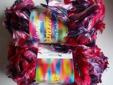 Wendy Shimmer boa eyelash yarn, Fiesta, lot of 2 (65 yds each)