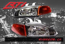 92-95 Honda Civic EJ Glass Black Headlights +City Light+ Smoke Amber Corner 2/3