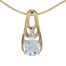 """10k Yellow Gold Round Aquamarine And Diamond Pendant with 18"""" Chain"""