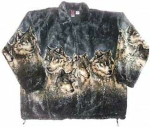 Gray Wolves Plush Fleece Timber Wolf Jacket (XS - 4X)