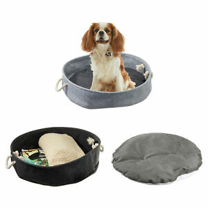 Hunde-und Katzenkörbchen Ø 40 cm grau/anthrazit inkl Kissen Tierbett mit Henkel