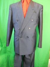 Vintage 1980s Blue Grey Milani Poly/Viscose 2-Piece Double Breasted Suit 38 31W