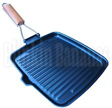 SQUARE NON STICK GRIDDLE GRILL STEAK FRYING COOKING PAN SKILLET FOLDING HANDLE