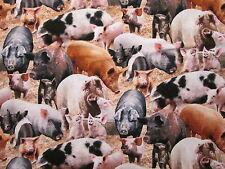 PIGS HOGS PIG FARM REALISTIC COTTON FABRIC FQ