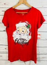 Holiday Time Christmas T-Shirt Tee Shirt Top Round Neck Medium Red Graphic NWT