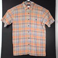 Patagonia Mens Shirt Orange Plaid Organic Cotton Chest Pocket Button Up Large
