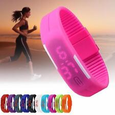 Mens Women Stunning Silicone Red LED Sport Bracelet Touch Digital Wrist Watch GA