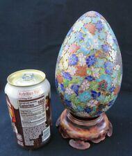 "Vintage Chinese Enamel Cloisonne Egg & Wooden Stand w Filigree Flowers 7"" Large"