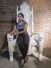 STOCK Ivory Velvet Lion King Throne Chair prop wedding and hotel 180cm high