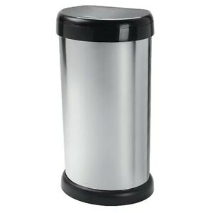 Stylish Modern Bathroom 42L Bin With Liner Touch Press Lid Home Kitchen - Silver