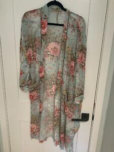 Aratta kimono duster floral blue One Size