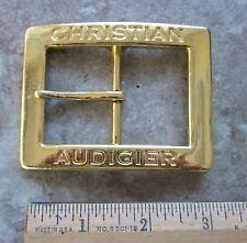 "CHRISTIAN AUDIGIER 3.25"" x 2.5""  Brass Finished Rectanglar Belt Buckle - NEW"