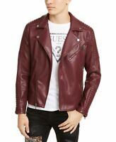 Guess Mens Jacket Red Size 2XL Motorcycle Faux-Leather Biker Quilt $168 022
