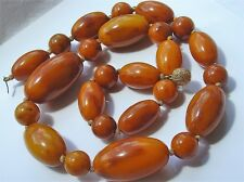 Vintage Plastic Marbled Butterscotch Bead Necklace Pass 1 Bakelite Test 100 Grs