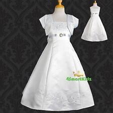 Embroidered  White Bolero Wedding Flower Girl Bridesmaid Party Dress 4 FG018J