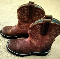 """ARIAT Fatbaby Cowgirl Boots Distressed Brown Leather 8"""" Tall Women's Size 5.5B"""