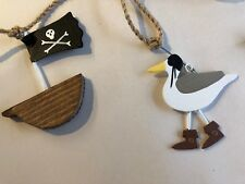 Seagull Pirate Boat Garland Nautical Bunting Seaside Themed Home Decor 120cm