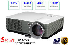 US Stock 4000 Lumen 1080P HD Home Theater Multimedia USB VGA HDMI LED Projector