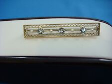 ANTIQUE FILIGREE DESIGN BROOCH WITH AQUAMARINE & PEARLS 14K YELLOW GOLD 5 GRAMS