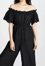NWT $348 JOIE Alverna Black Linen Off Shoulder Jumpsuit Culottes SMALL S 4 6