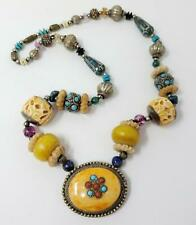 Chunky Boho Silver Tone Faux Turquoise Carved Beads Necklace