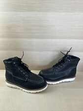 Wolverine I-90 DuraShocks Black Leather Moc Toe Waterproof Work Boots Men's 10 M