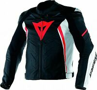 DAINESE AVRO LEATHER JACKET MOTORBIKE / MOTORCYCLE BLACK-RED-WHITE - Replica