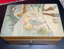 Non Working Antique Music Box Switzerland Angels/Rabbits in Snow Decoupage LADOR